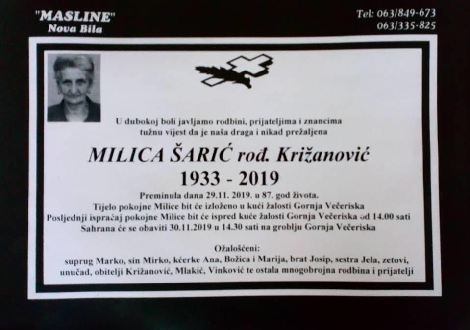 Milica Šarić, rođ. Križanović