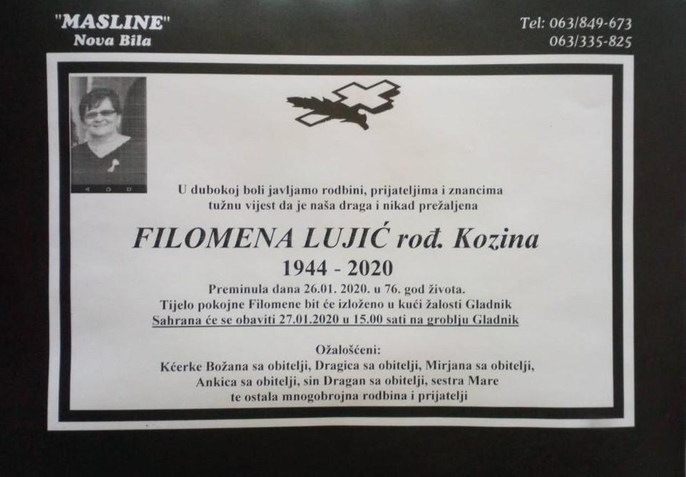 Filomena Lujić, rođ. Kozina