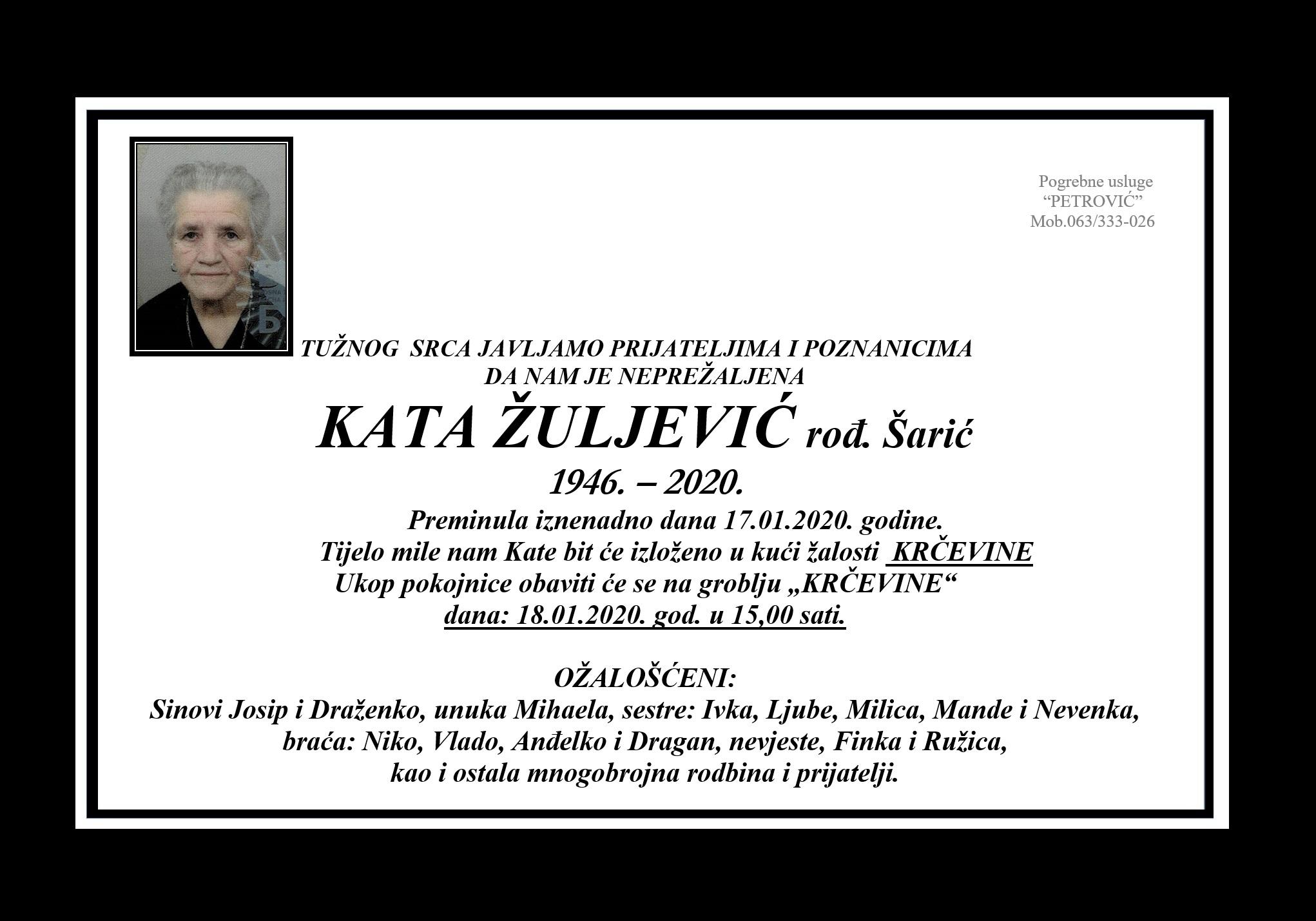 Kata Žuljević, rođ. Šarić