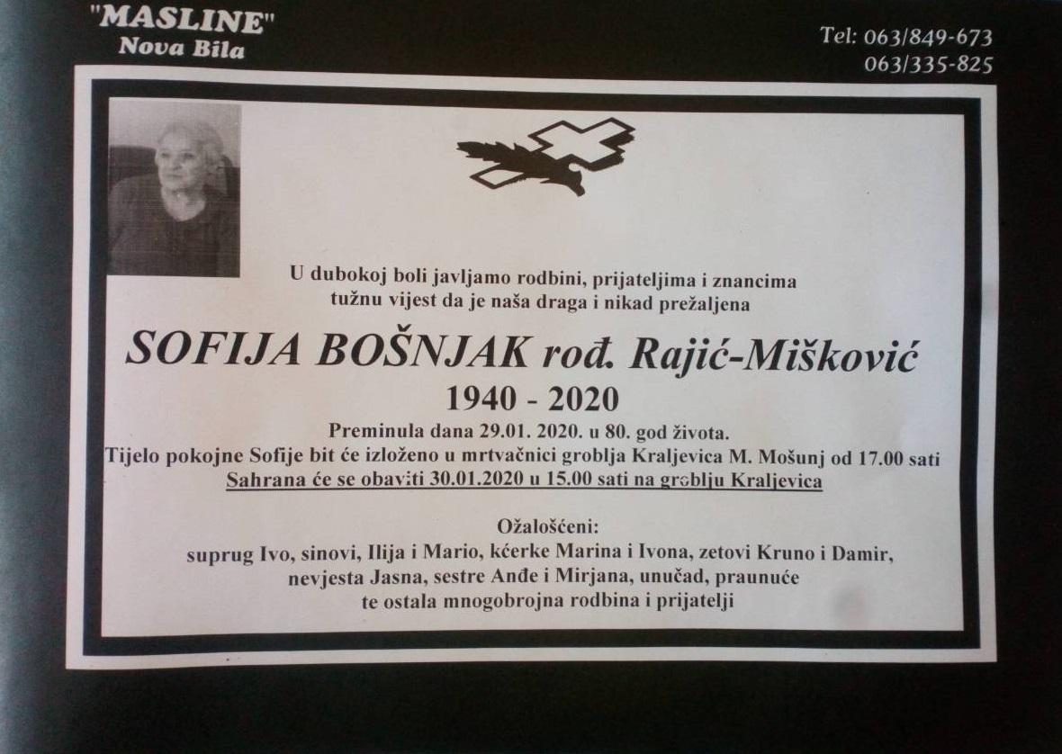 Sofija Bošnjak, rođ. Rajić-Mišković