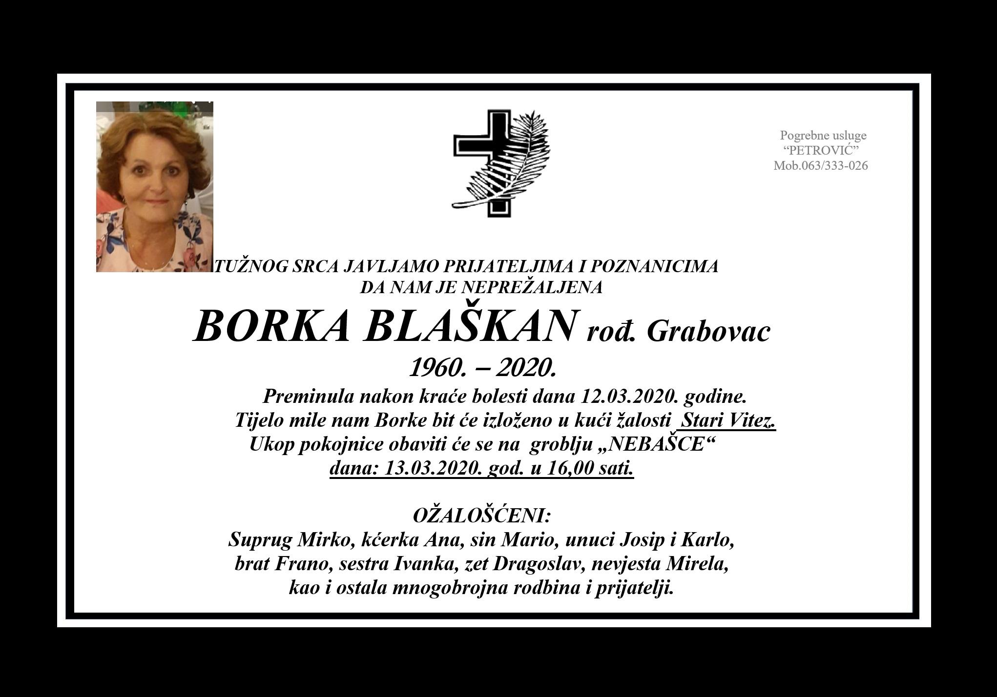 Borka Blaškan, rođ. Grabovac