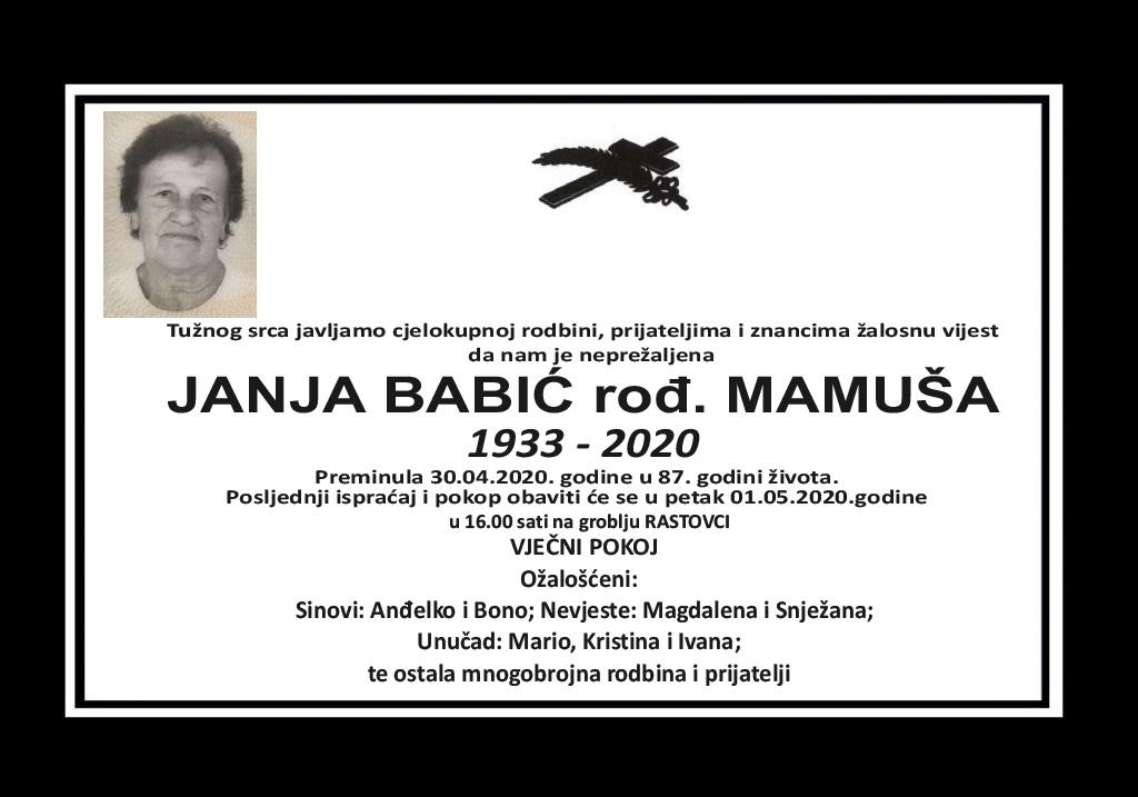 Janja Babić rođ. Mamuša