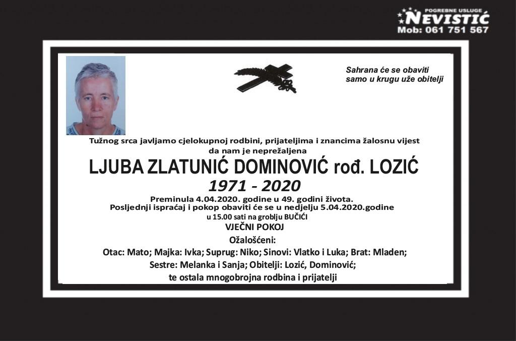 Ljuba Zlatunić Dominović rođ. Lozić