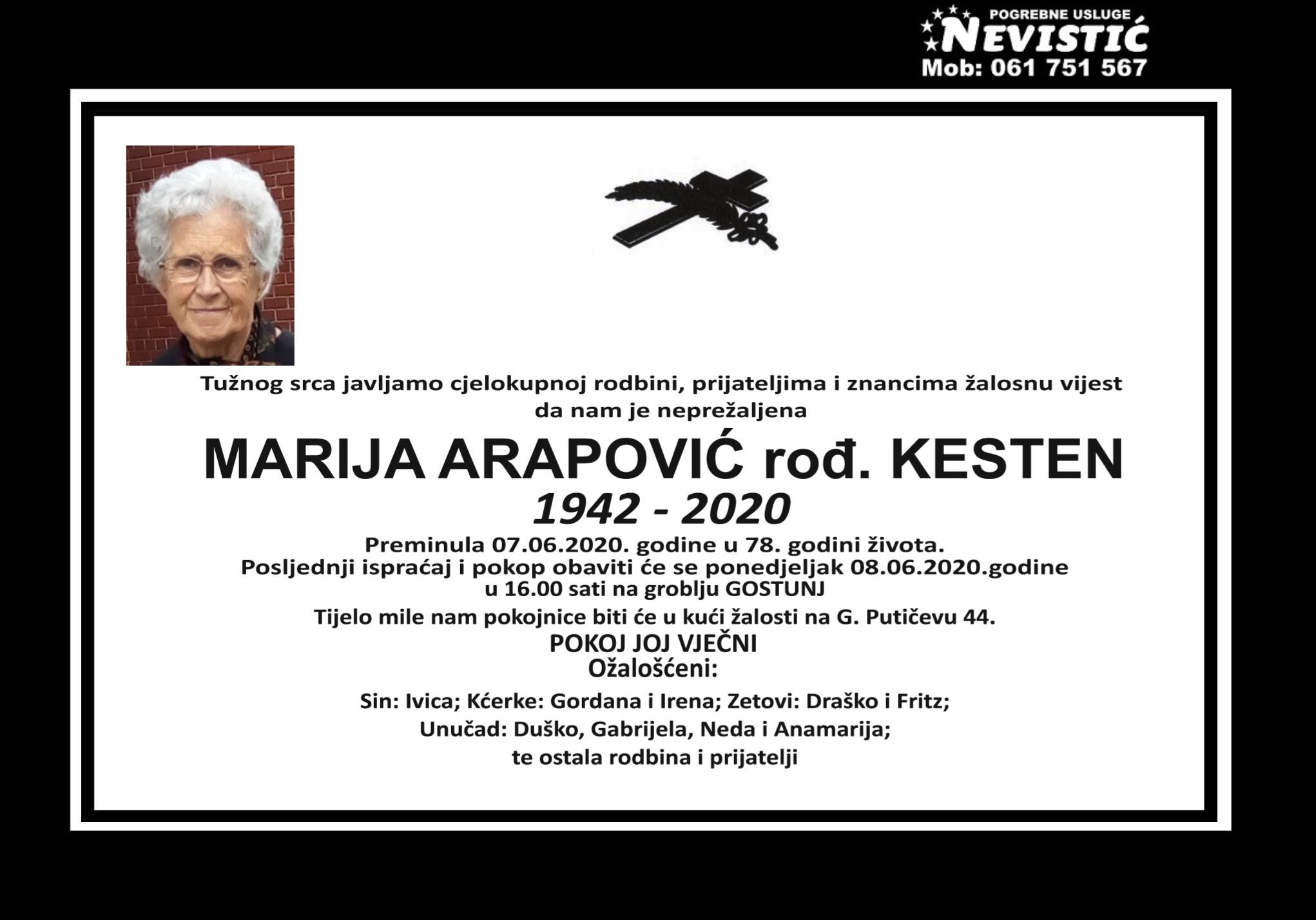 Marija Arapović rođ. Kesten