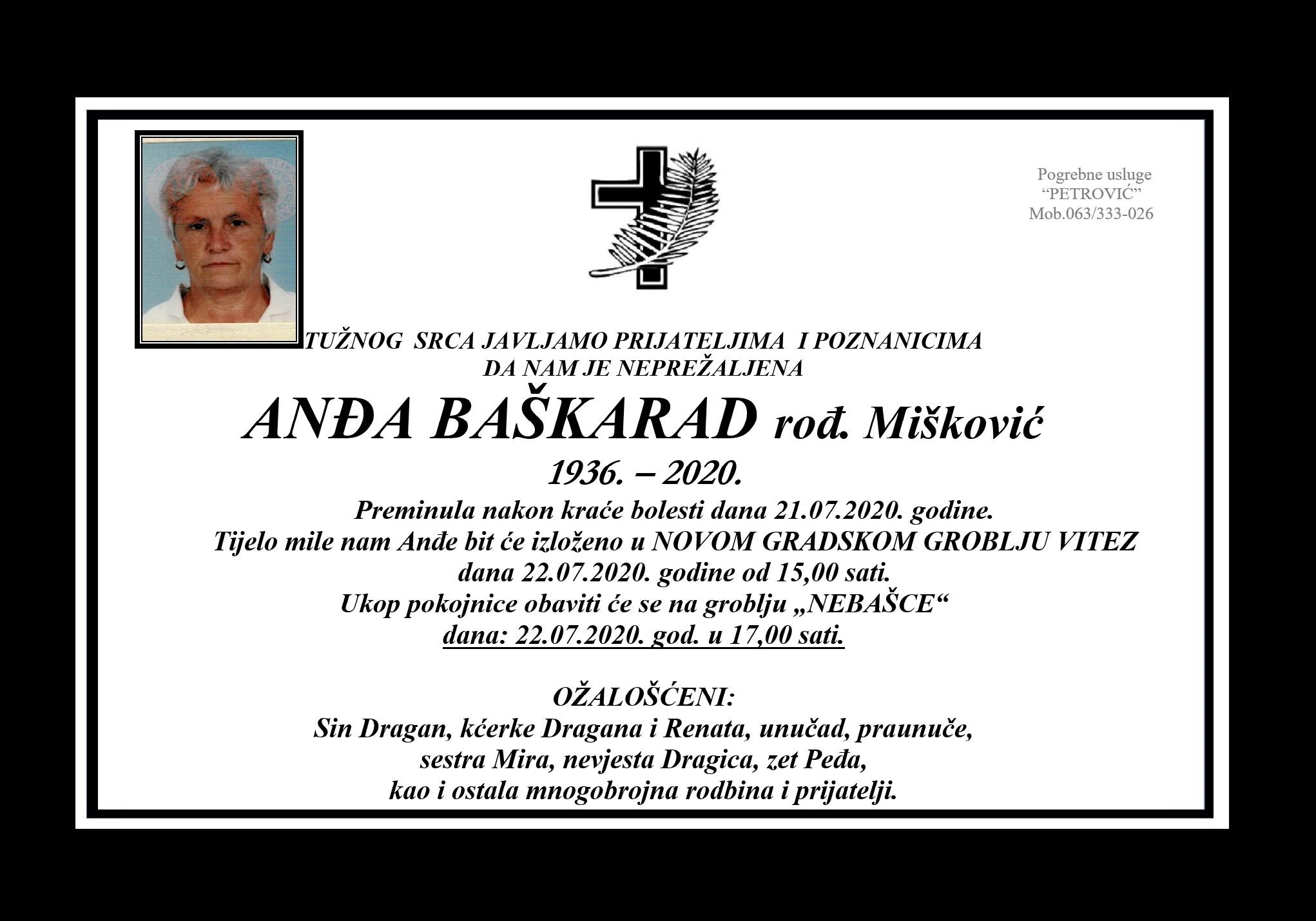 Anđa Baškarad rođ. Mišković