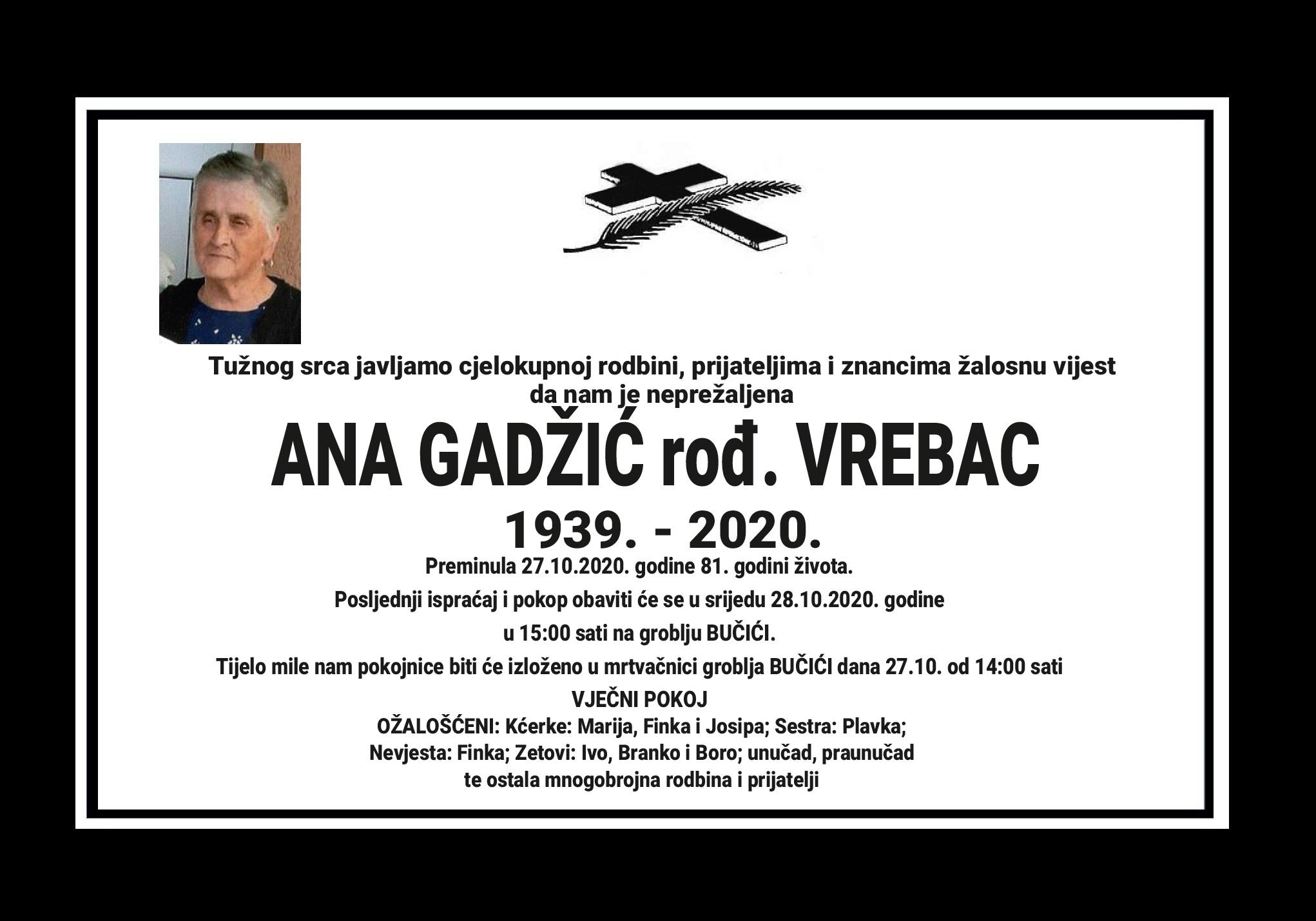 Ana Gadžić rođ. Vrebac