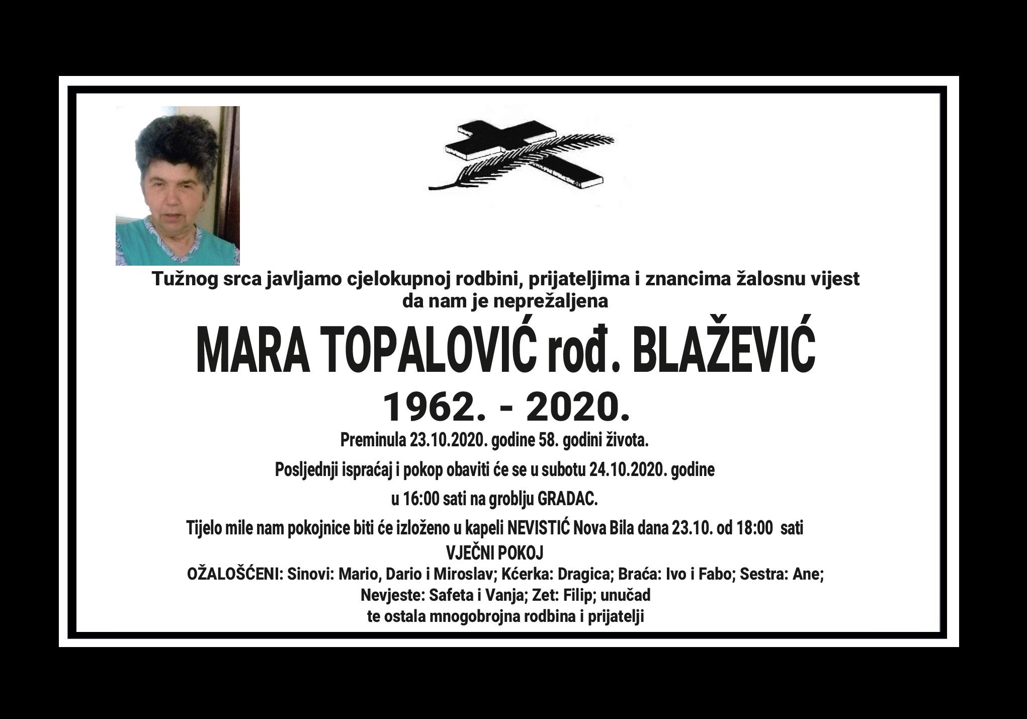 Mara Topalović rođ. Blažević