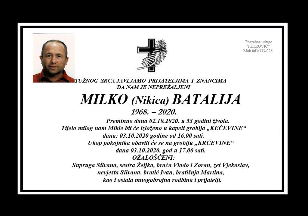 Milko (Nikica) Batalija