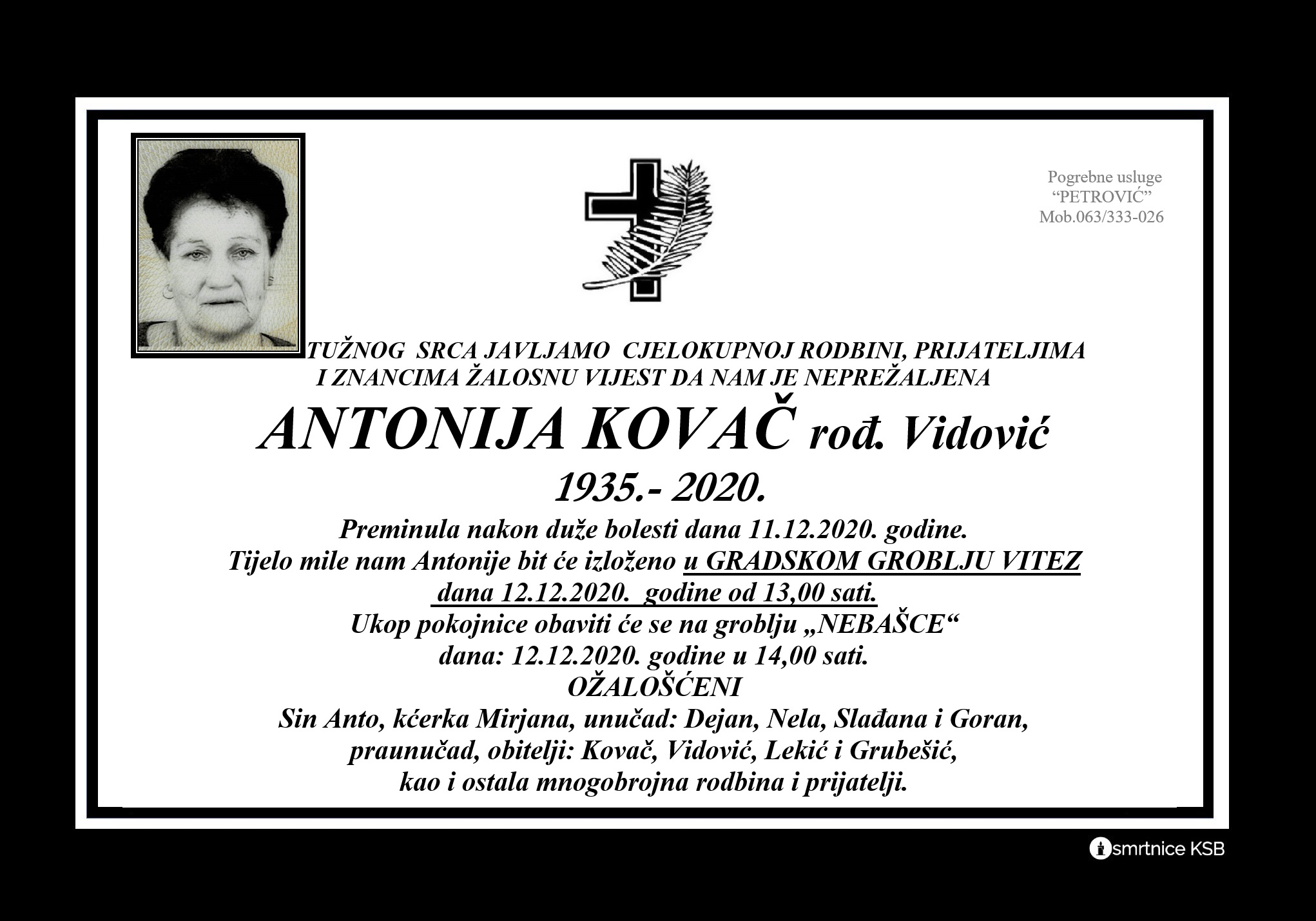 Antonija Kovač rođ. Vidović