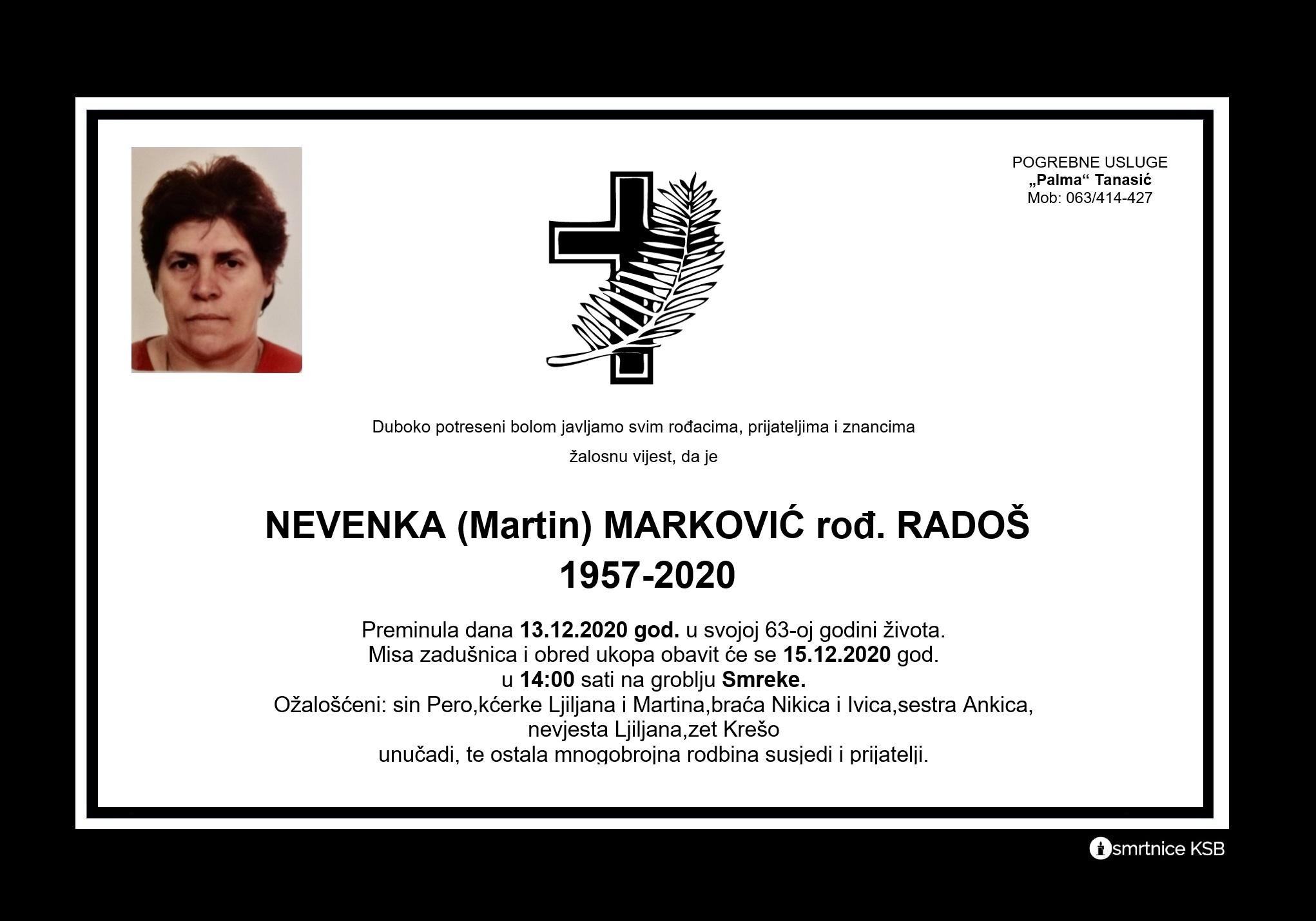 Nevenka (Martin) Marković rođ. Radoš