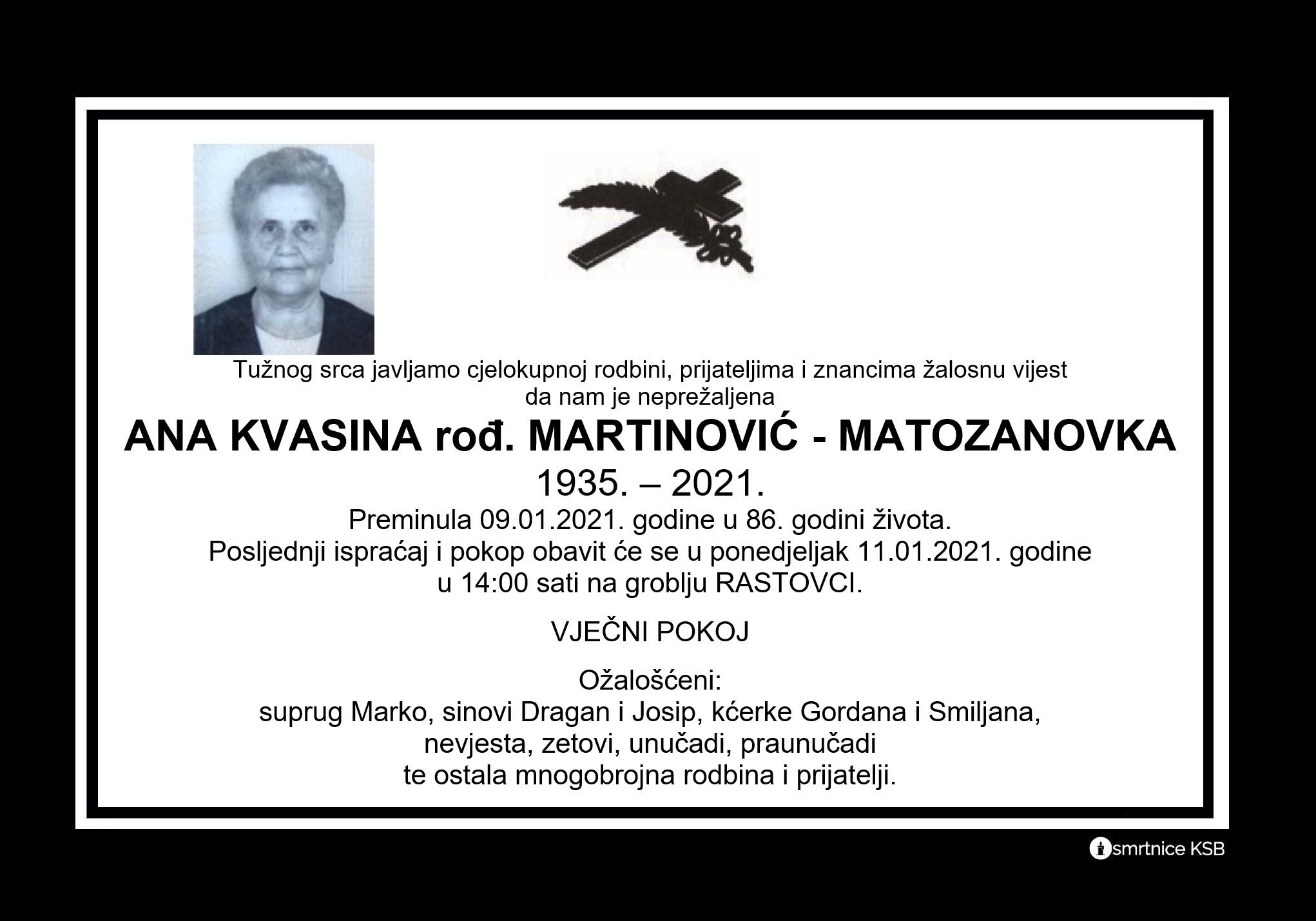 Ana Kvasina rođ. Martinović