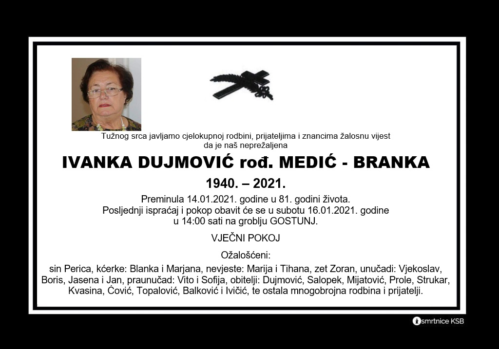 Ivanka Dujmović rođ.Medić – Branka