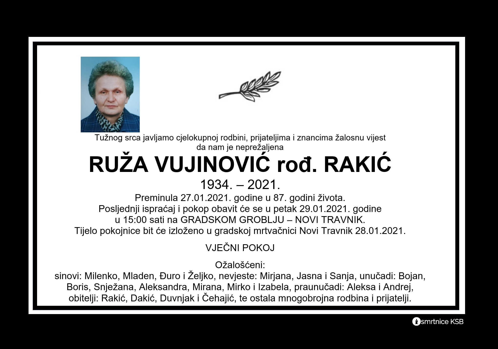 Ruža Vujinović rođ. Rakić