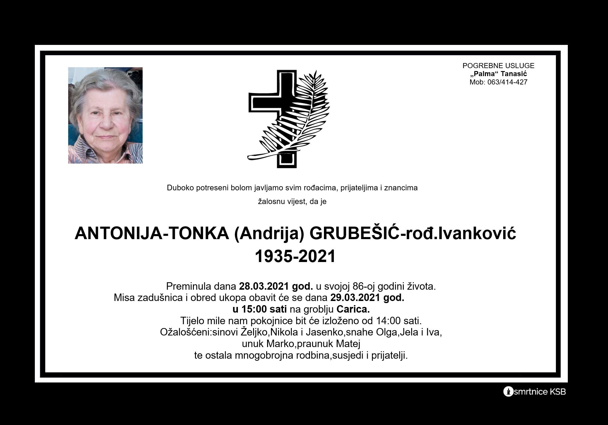 Read more about the article Antonija-Tonka (Andrija) Grubešić – rođ.Ivanković