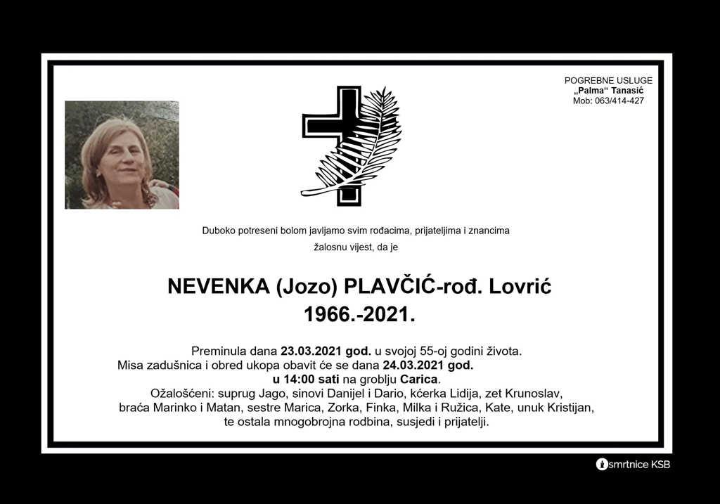 Read more about the article Nevenka (Jozo) Plavčić rođ. Lovrić