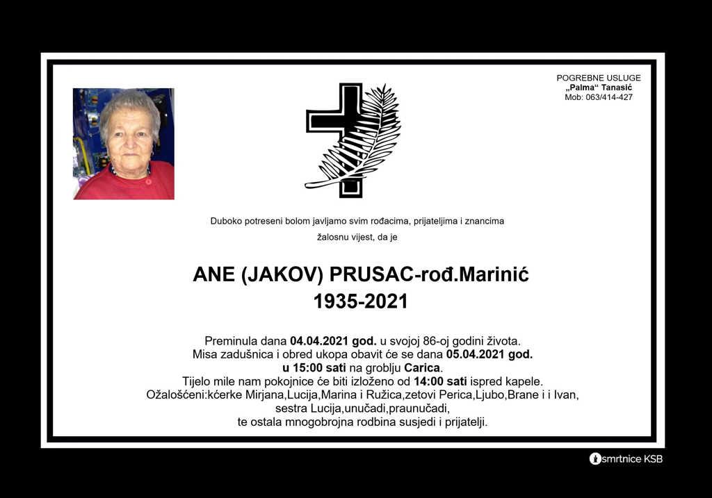 Ane (Jakov) Prusac rođ. Marinić