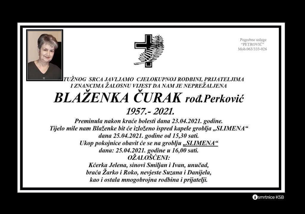 Blaženka Čurak rođ. Perković