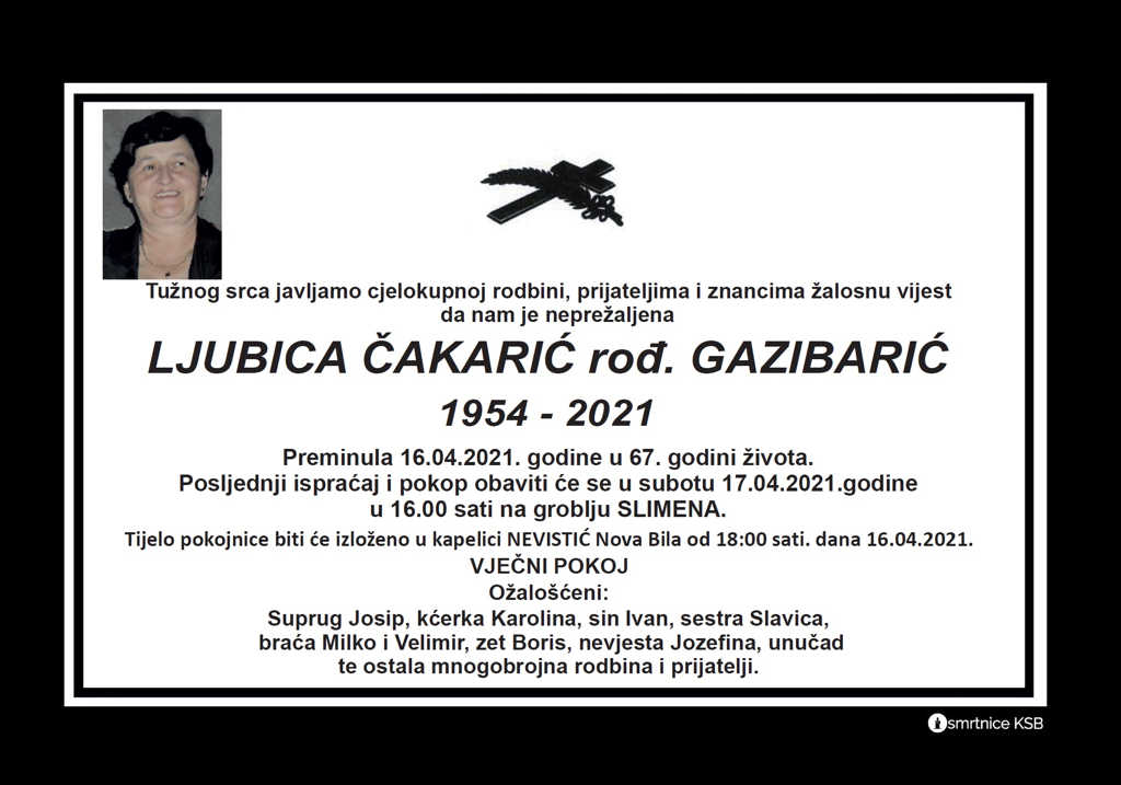 Ljubica Čakarić rođ. Gazibarić