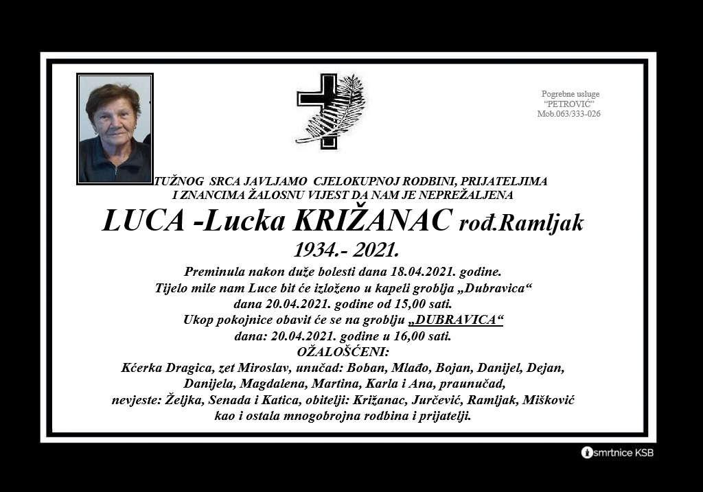 Luca-Lucka Križanac rođ.Ramljak