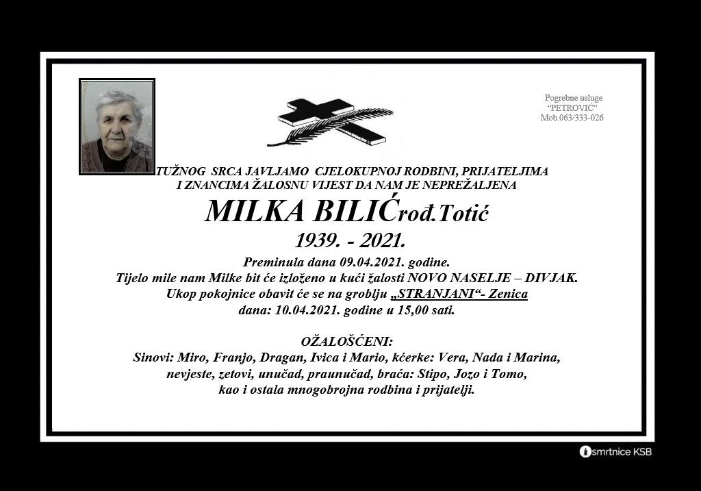 Milka Bilić rođ. Totić