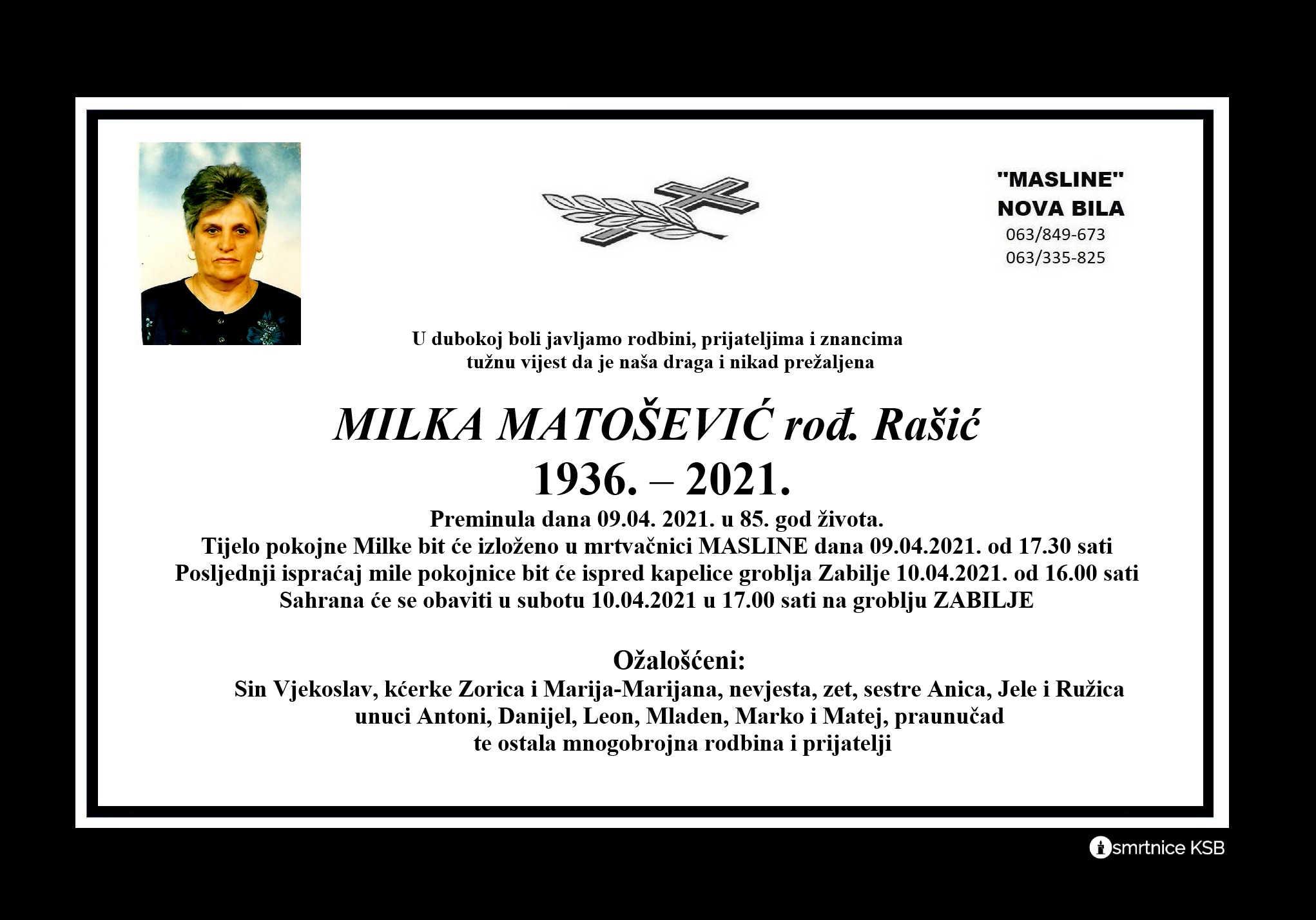 Milka Matošević rođ. Rašić
