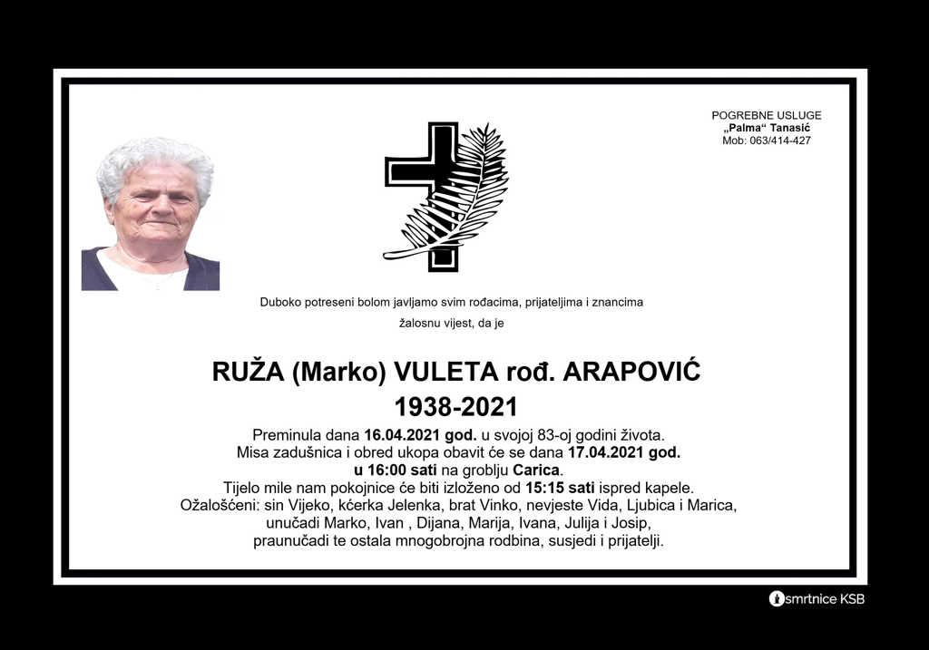 Read more about the article Ruža (Marko) Vuleta rođ. Arapović