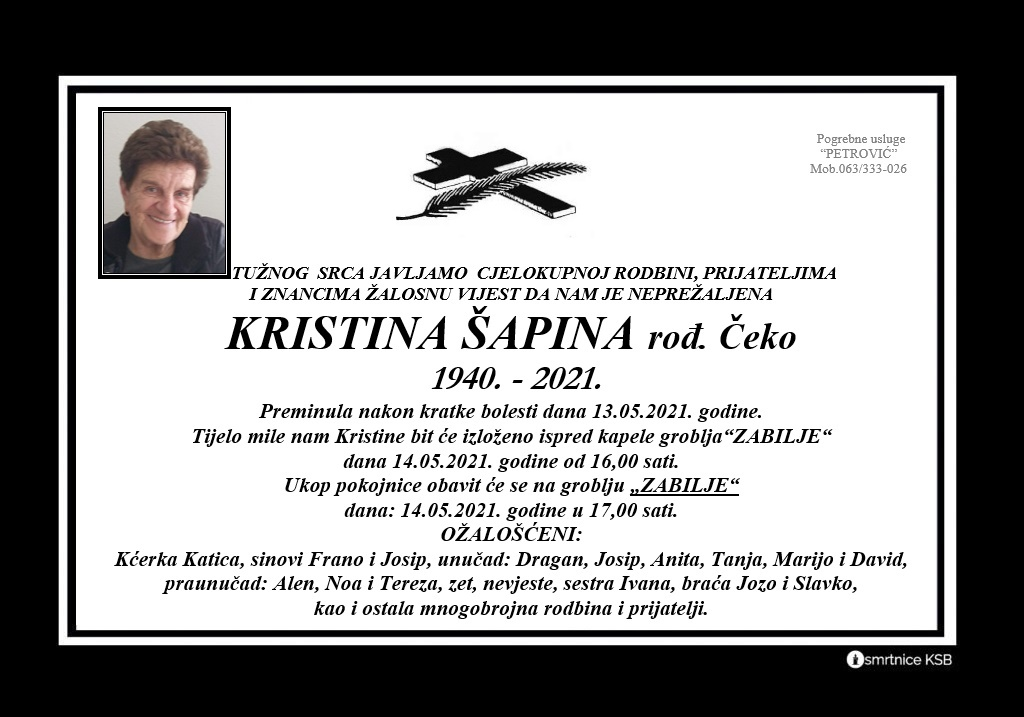 Kristina Šapina rođ. Čeko