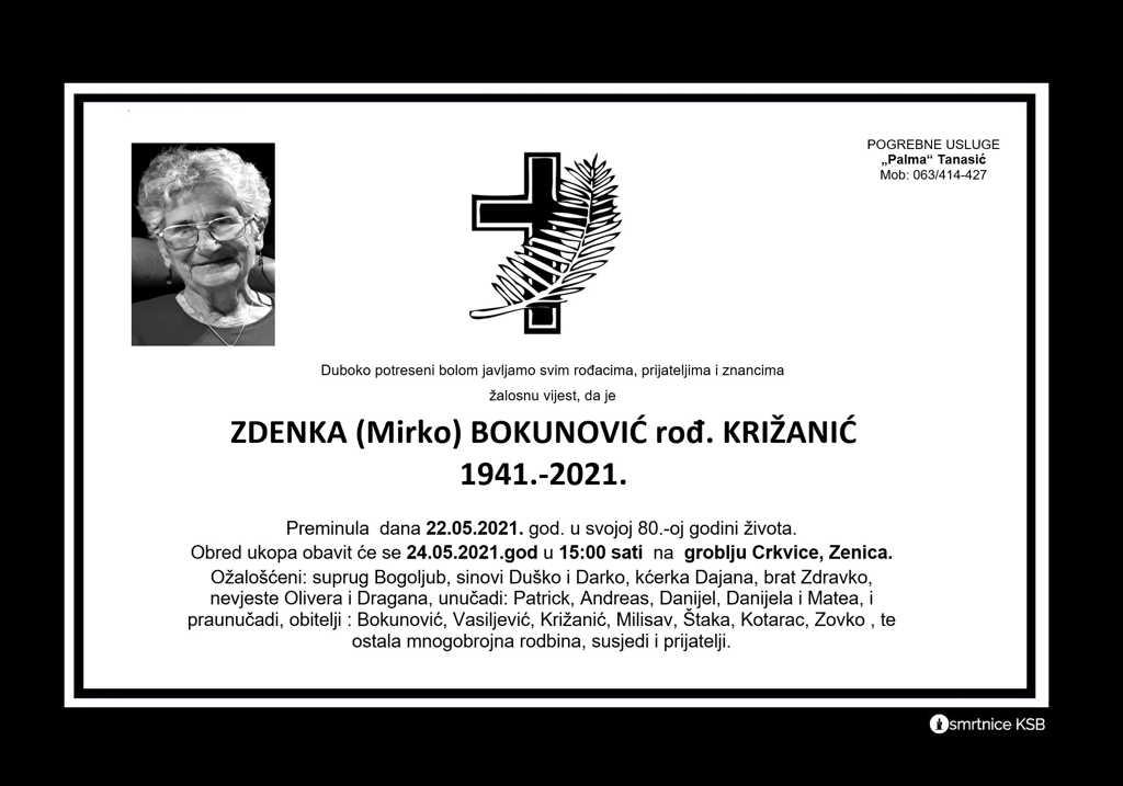 Read more about the article Zdenka (Mirko) Bokunović rođ. Križanić