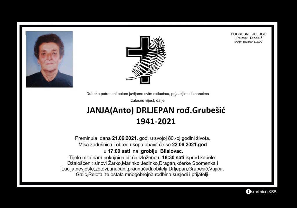 Read more about the article Janja (Anto) Drljepan rođ. Grubešić