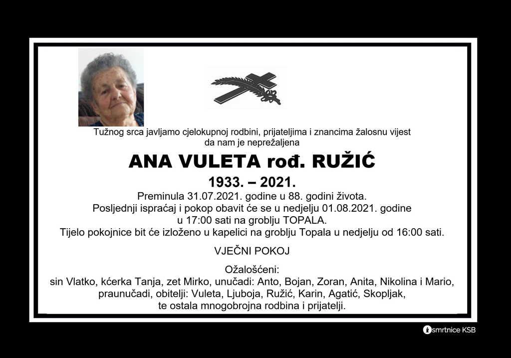 Read more about the article Ana Vuleta rođ. Ružić