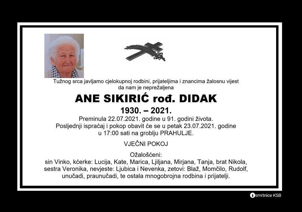 Read more about the article Ane Sikirić rođ. Didak