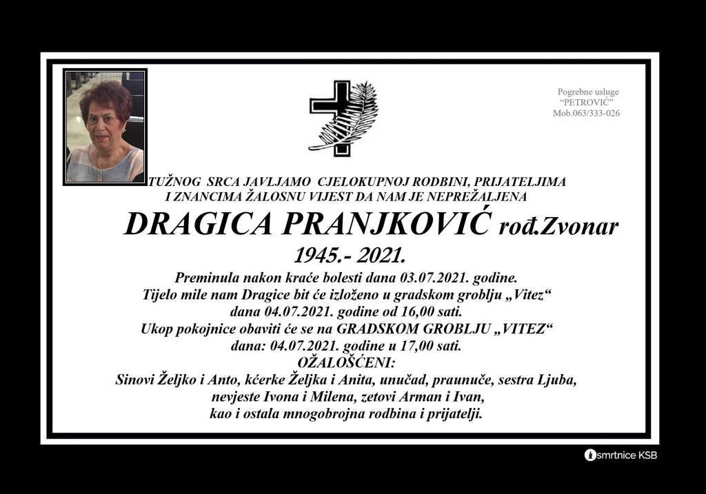 Read more about the article Dragica Pranjković rođ. Zvonar
