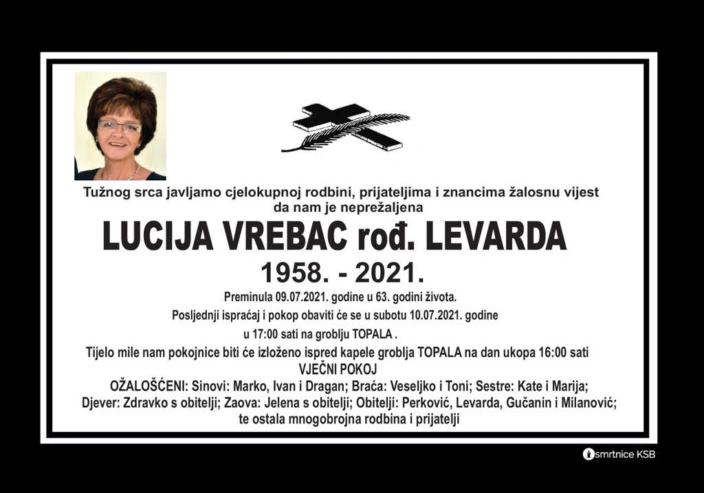Read more about the article Lucija Vrebac rođ. Levarda