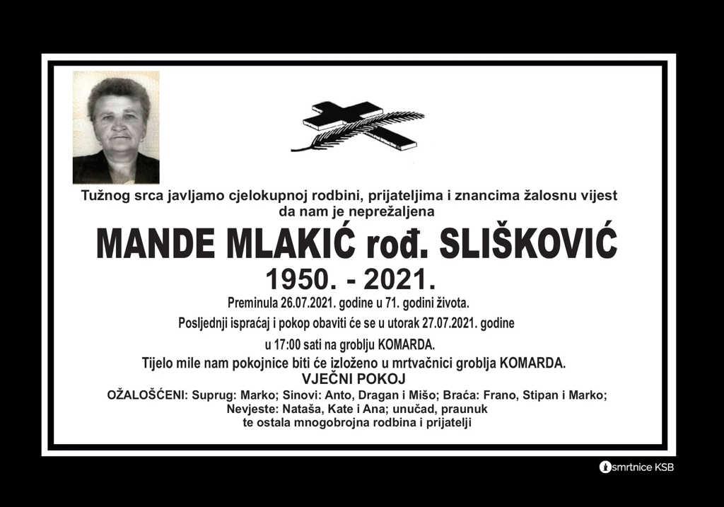 Read more about the article Mande Mlakić rođ. Slišković