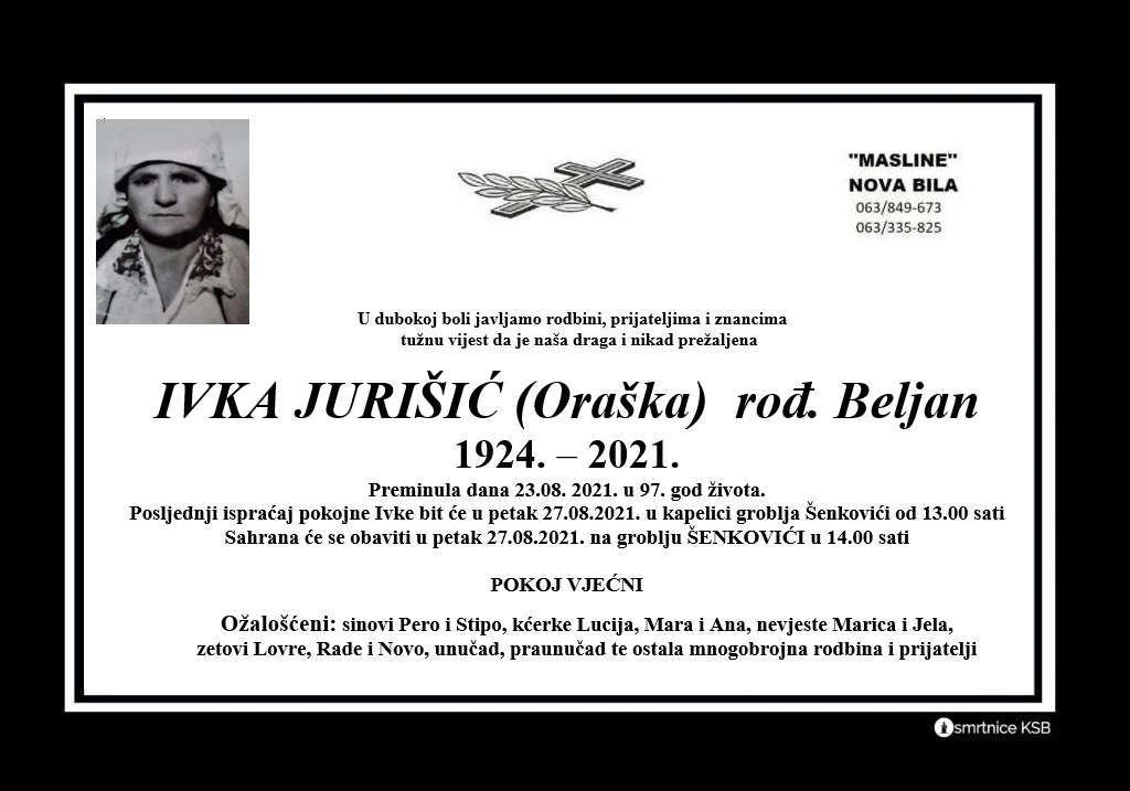Pročitajte više o članku Ivka Jurišić (Oraška) rođ. Beljan