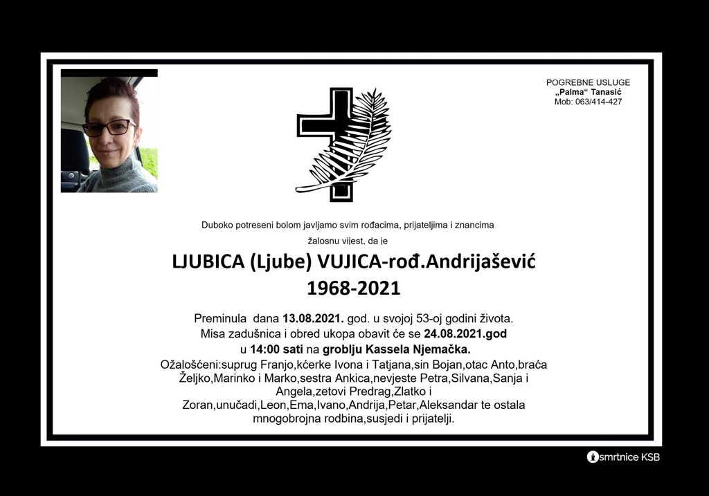 Pročitajte više o članku Ljubica (Ljube) Vujica – rođ. Andrijašević