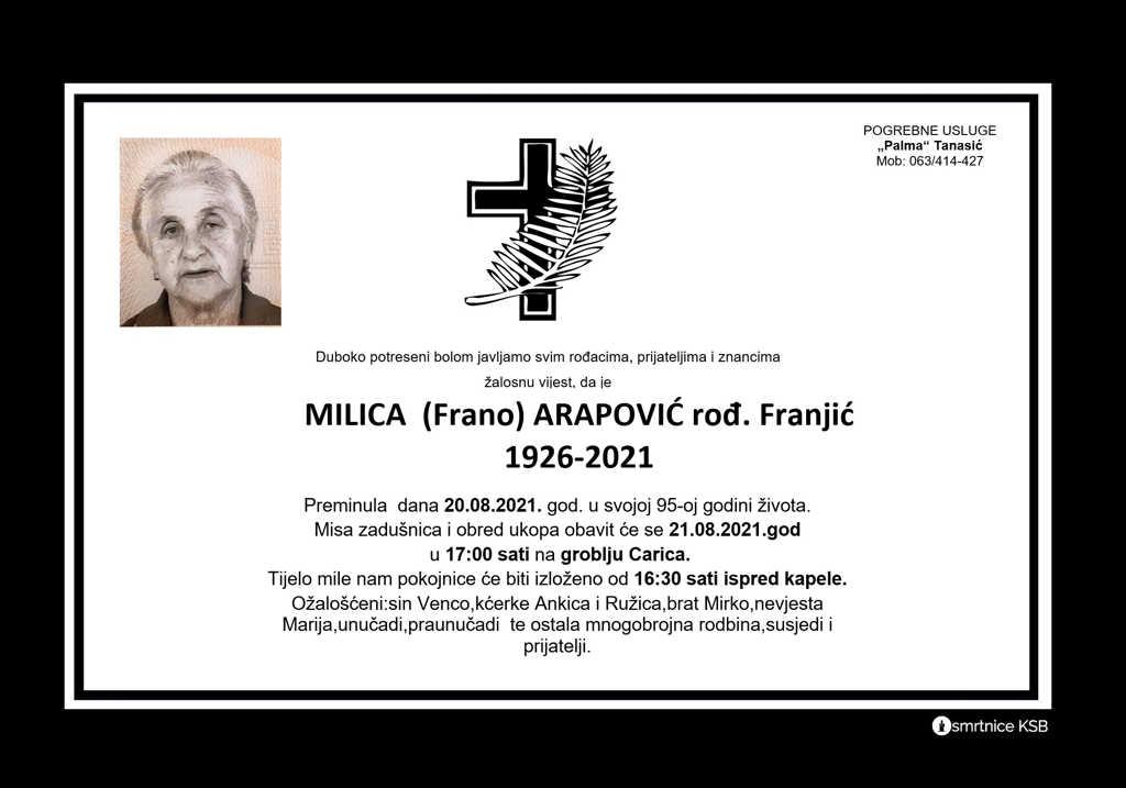 Pročitajte više o članku Milica (Frano) Arapović rođ. Franjić