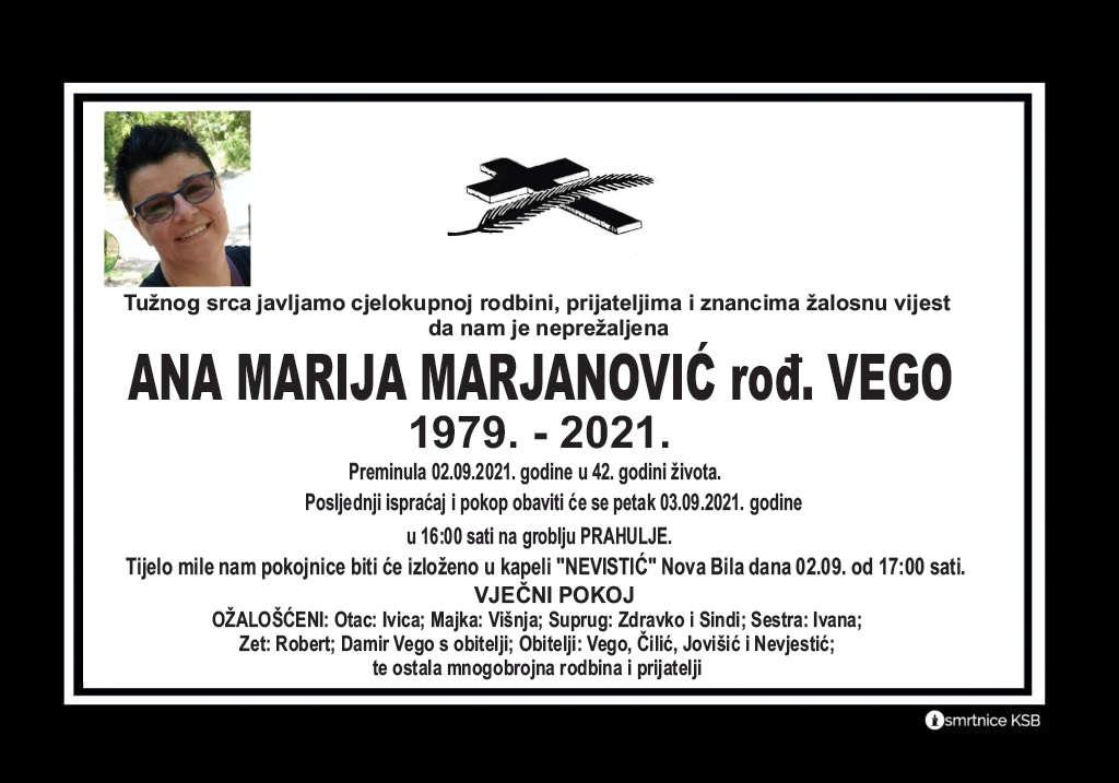 Pročitajte više o članku Ana Marija Marjanović rođ. Vego