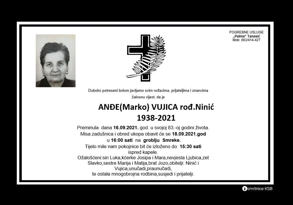 Pročitajte više o članku Anđe (Marko) Vujica rođ. Ninić