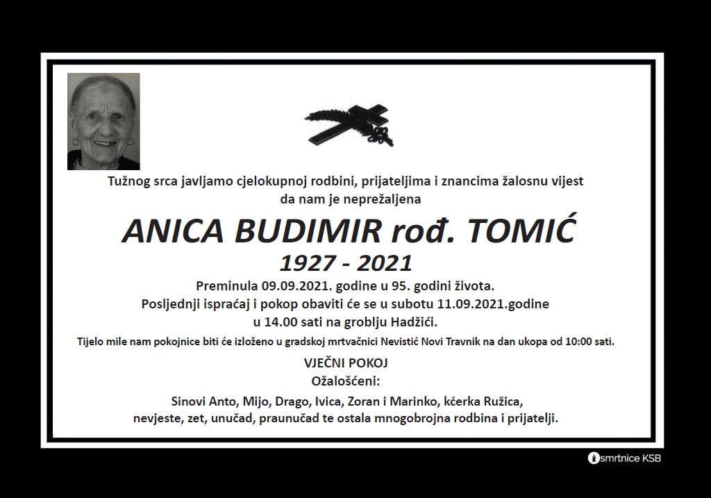 Pročitajte više o članku Anica Budimir rođ. Tomić