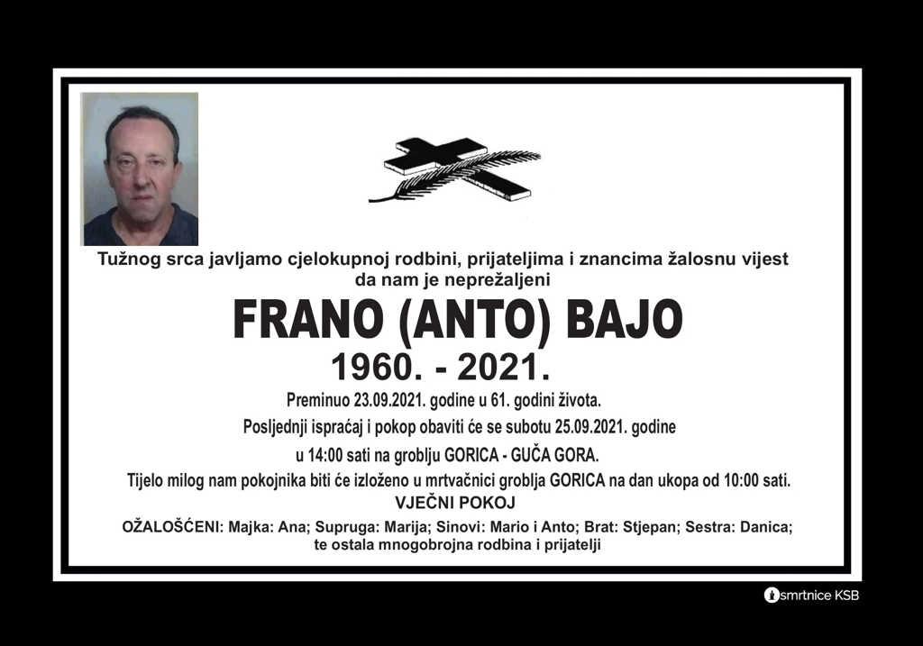 Pročitajte više o članku Frano (Anto) Bajo