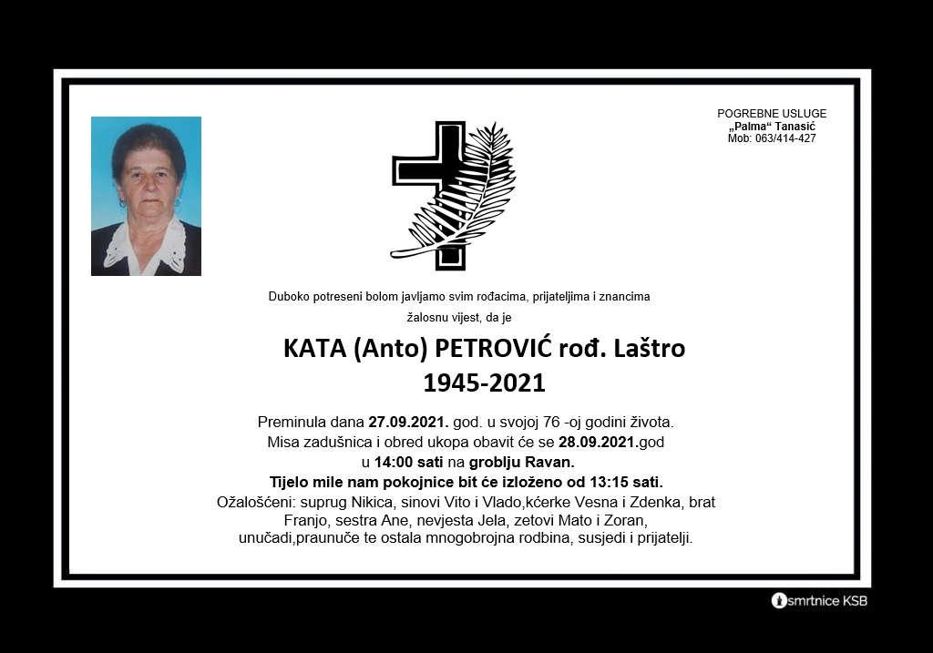 Pročitajte više o članku Kata (Anto) Petrović rođ. Laštro