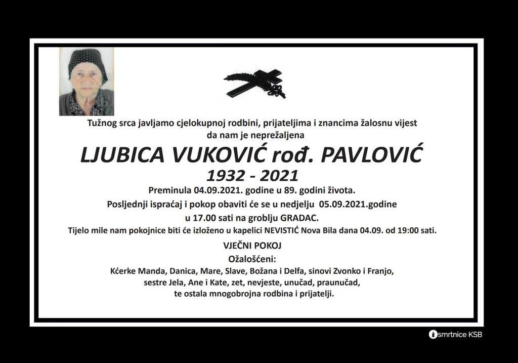 Pročitajte više o članku Ljubica Vuković rođ. Pavlović