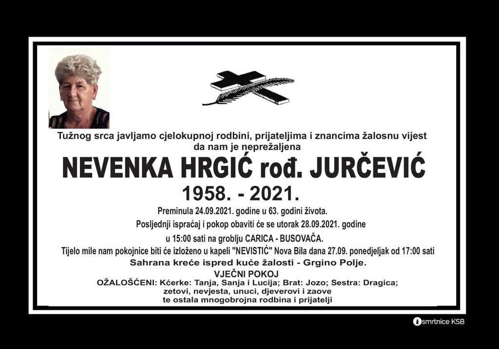 Pročitajte više o članku Nevenka Hrgić rođ. Jurčević