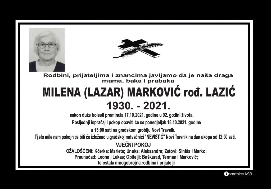 Pročitajte više o članku Milena (Lazar) Marković rođ. Lazić