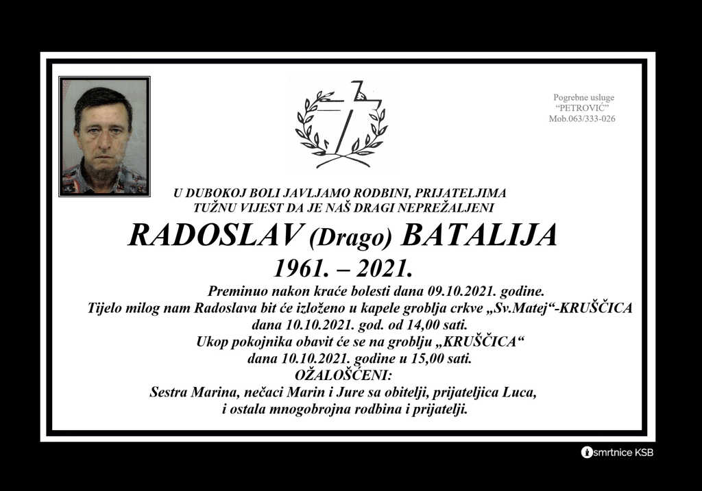 Pročitajte više o članku Radoslav (Drago) Batalija