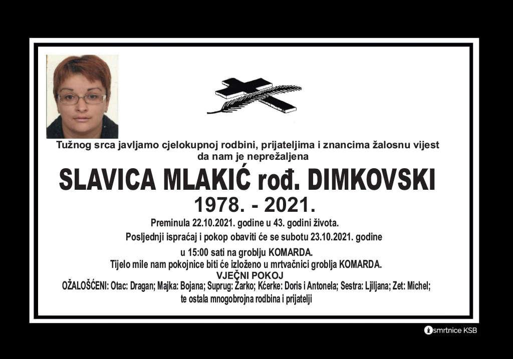 Pročitajte više o članku Slavica Mlakić rođ. Dimkovski